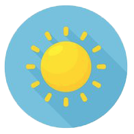 Cartoon sun with round sky blue background